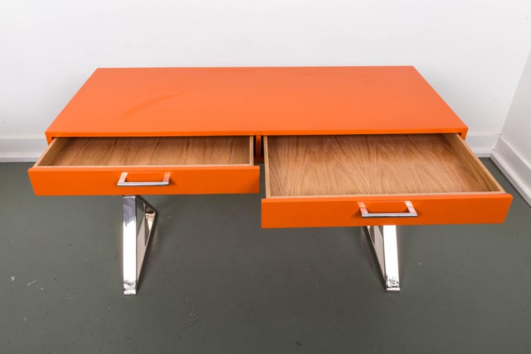 Mid-Century Modern Milo Baughman X-Base Campaign Desk For Sale