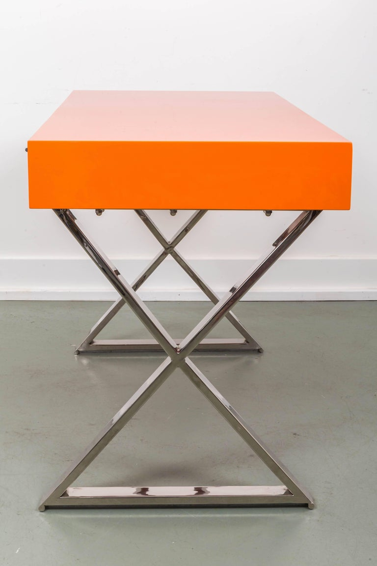 Chrome Milo Baughman X-Base Campaign Desk For Sale