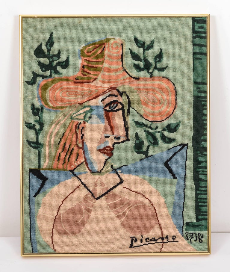 Mid-Century Modern Picasso Portrait in Needlepoint, Lady in Hat For Sale