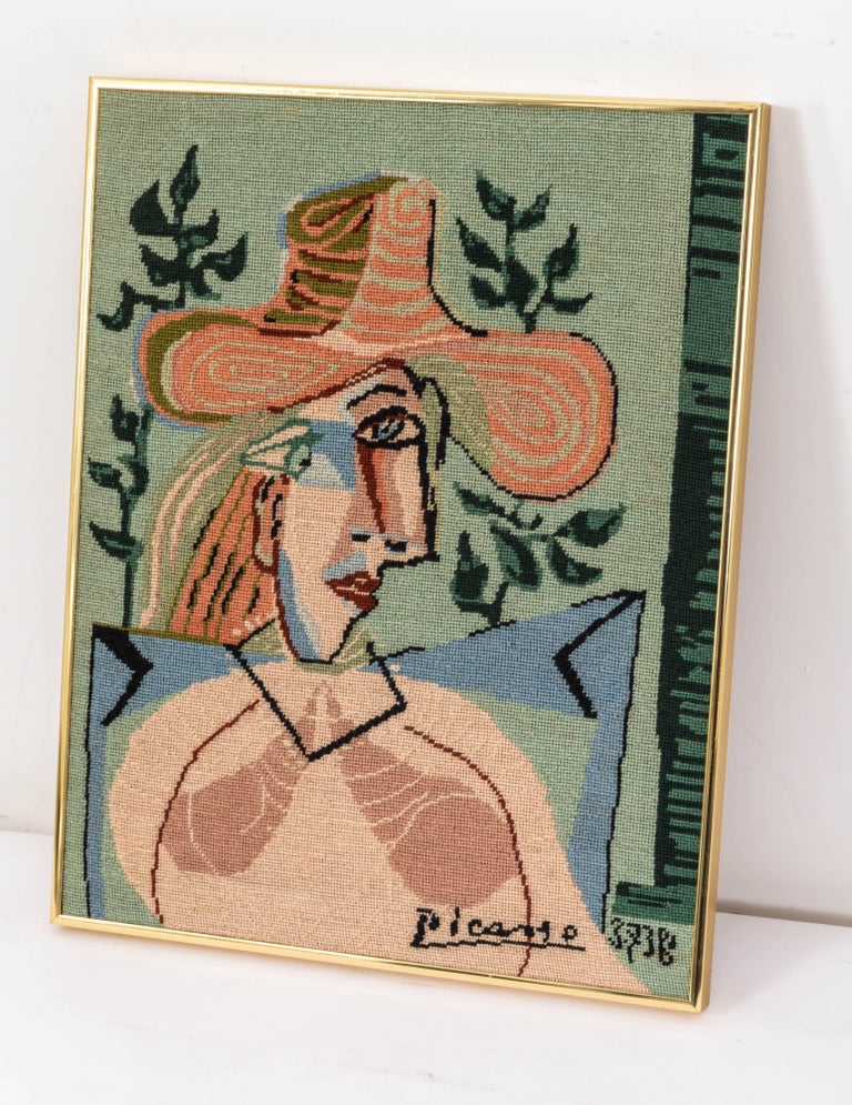 American Picasso Portrait in Needlepoint, Lady in Hat For Sale