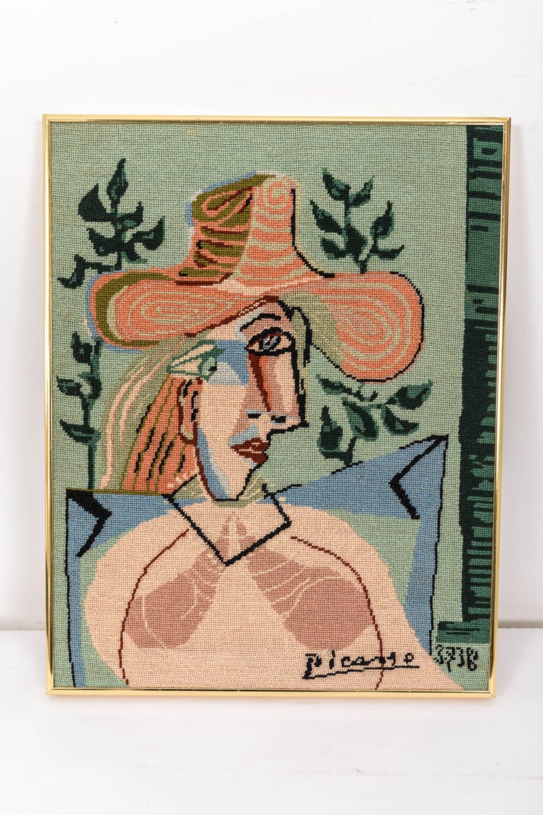 20th Century Picasso Portrait in Needlepoint, Lady in Hat For Sale