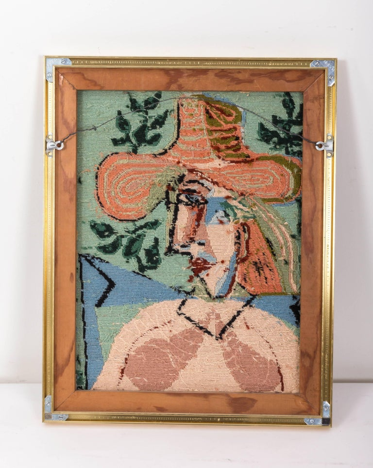 Wool Picasso Portrait in Needlepoint, Lady in Hat For Sale