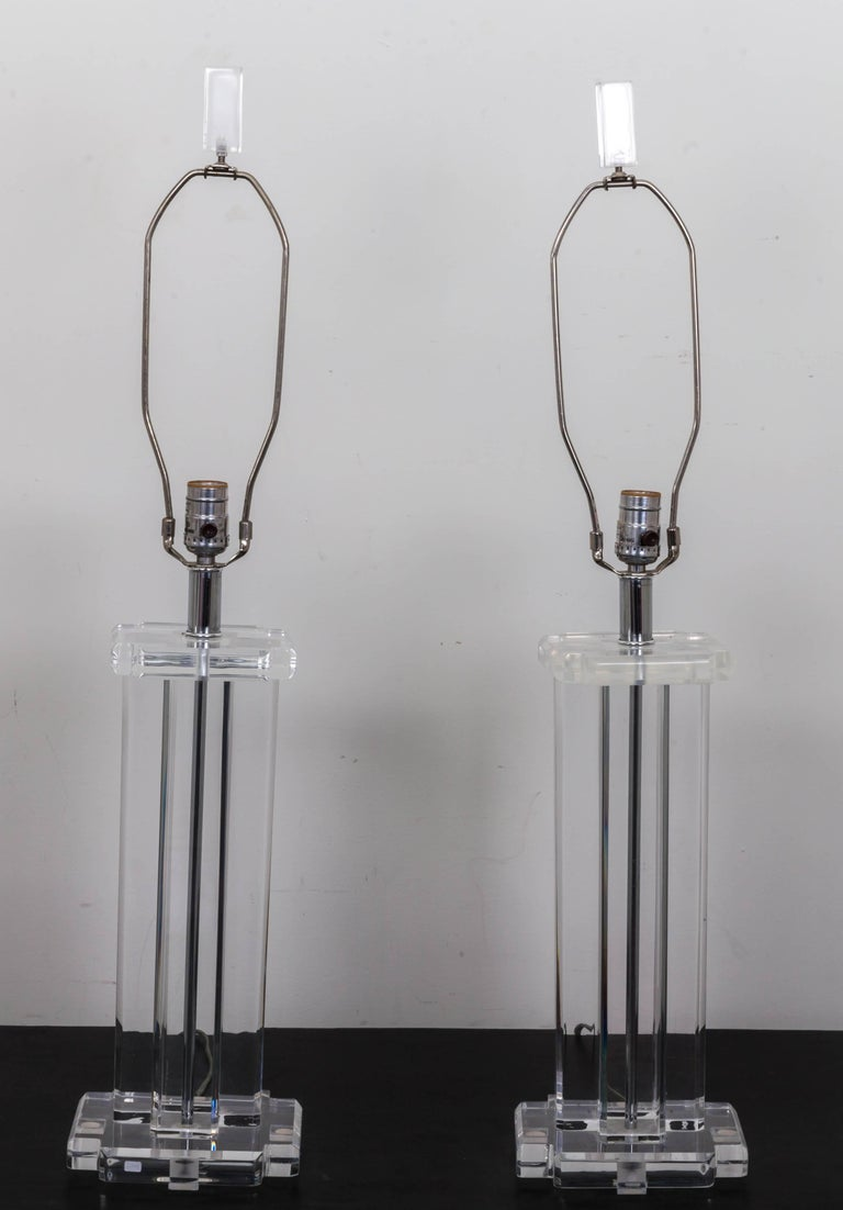 American Pair of Lucite Rectangular Column Table Lamps For Sale