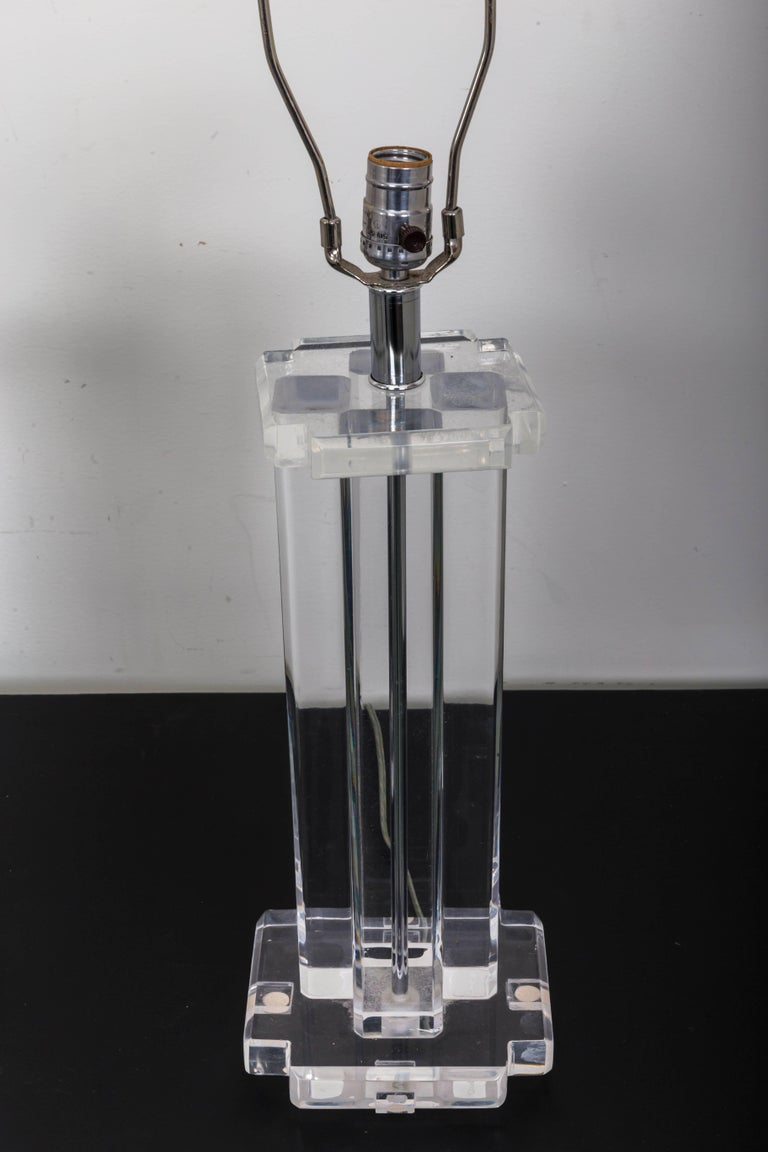 Pair of Lucite Rectangular Column Table Lamps For Sale 2
