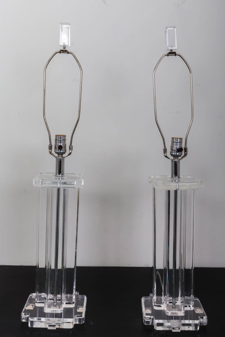 Pair of Lucite Rectangular Column Table Lamps For Sale 3