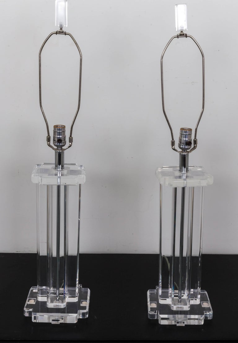 Pair of Lucite Rectangular Column Table Lamps For Sale 4