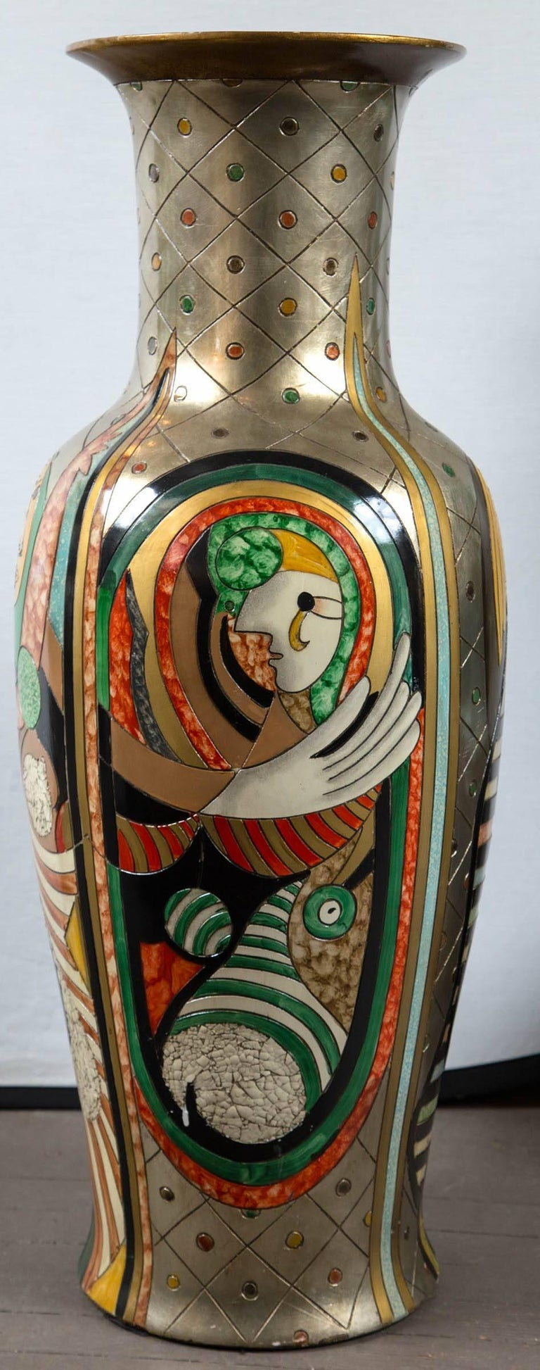 Tall Picassoesque Pottery Vase In Good Condition For Sale In Woodbury, CT