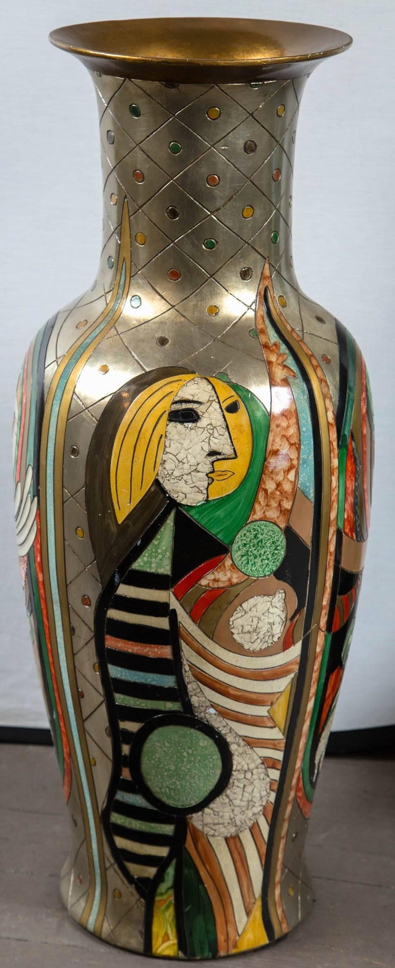 20th Century Tall Picassoesque Pottery Vase For Sale