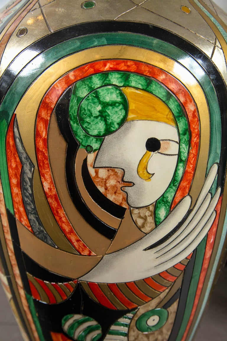 Tall Picassoesque Pottery Vase For Sale 2