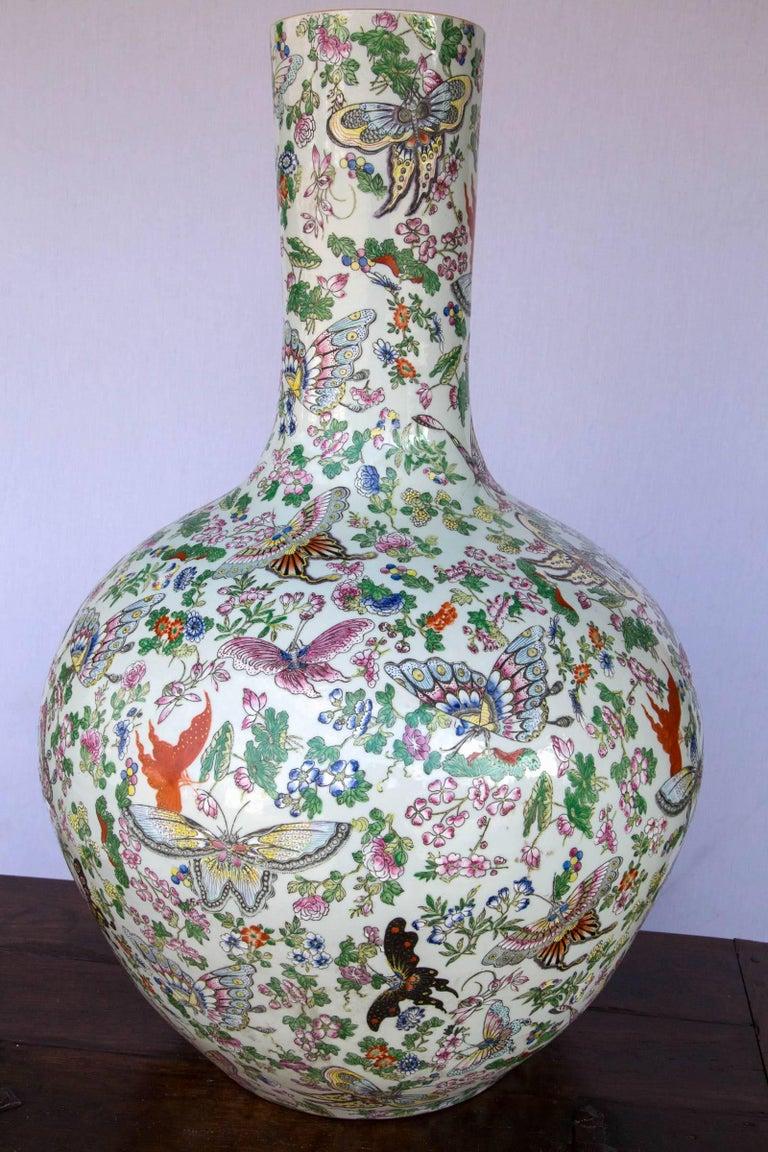 Porcelain Large Chinese Bottle Form Vase For Sale