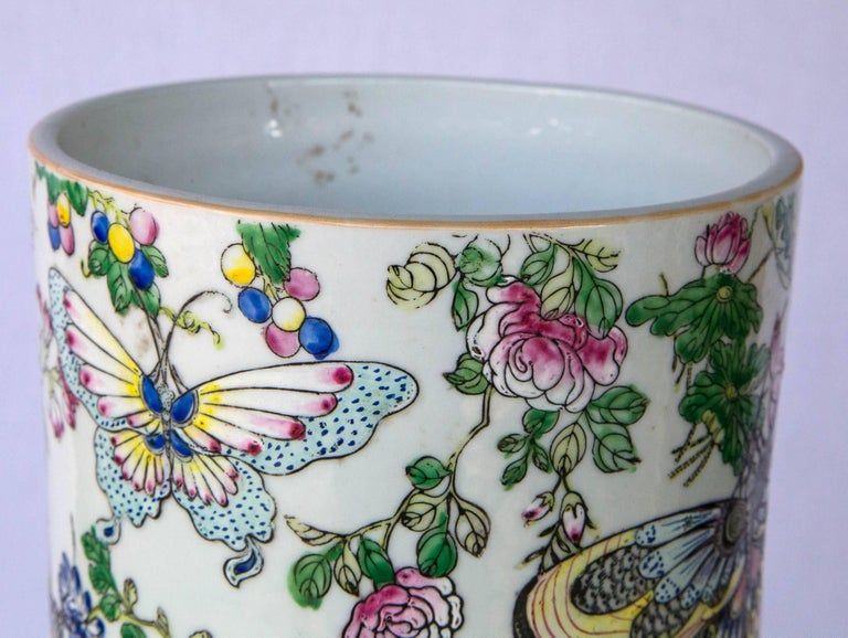 Hand-Painted Large Chinese Bottle Form Vase For Sale