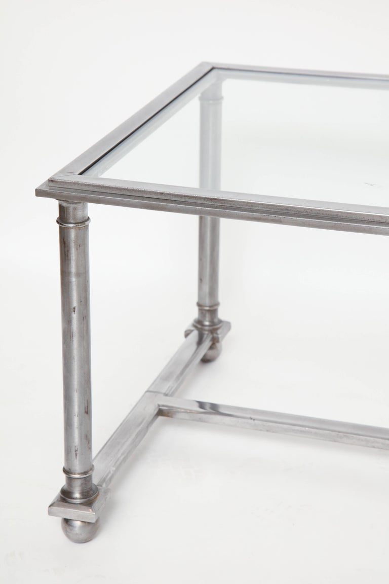 Midcentury Rectangular Steel Coffee Table With Glass Top France Circa 1960s At 1stdibs