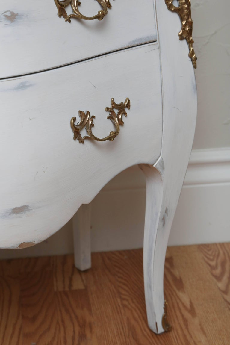 Pair of Vintage Auffray Painted Chests with Marble Tops In Good Condition For Sale In West Palm Beach, FL