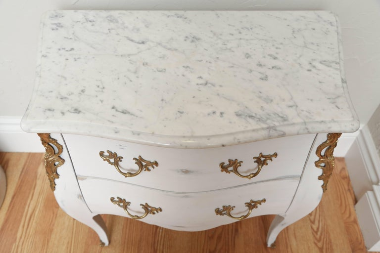 Pair of Vintage Auffray Painted Chests with Marble Tops For Sale 1