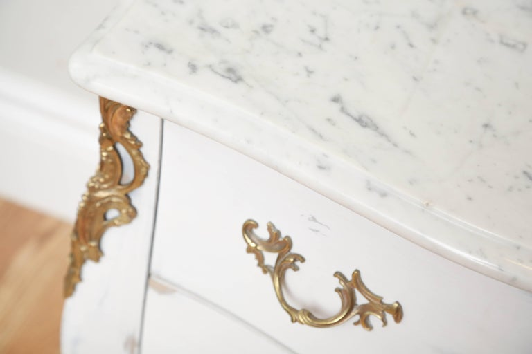 Pair of Vintage Auffray Painted Chests with Marble Tops For Sale 2
