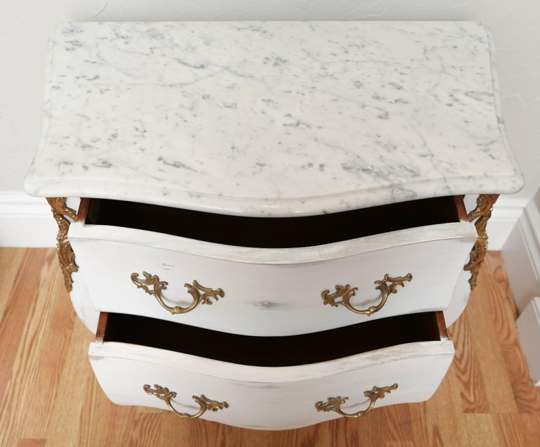Pair of Vintage Auffray Painted Chests with Marble Tops For Sale 3