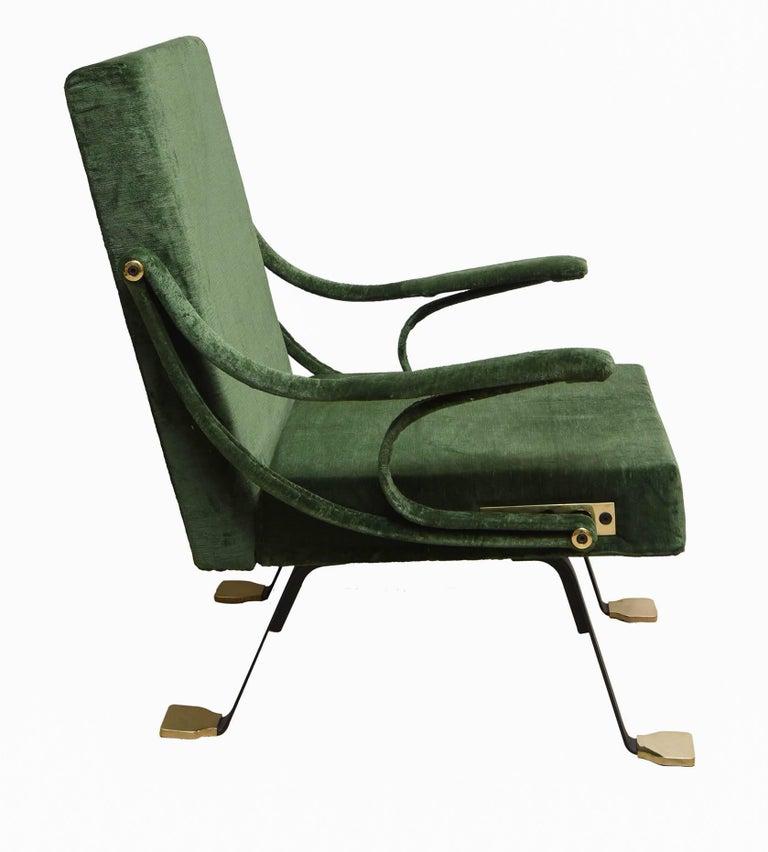 """Italian 1950s """"Digamma"""" Ignazio Gardella Gavina Green Armchair For Sale"""