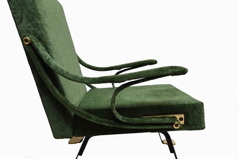 "1950s ""Digamma"" Ignazio Gardella Gavina Green Armchair In Excellent Condition For Sale In Milan, IT"