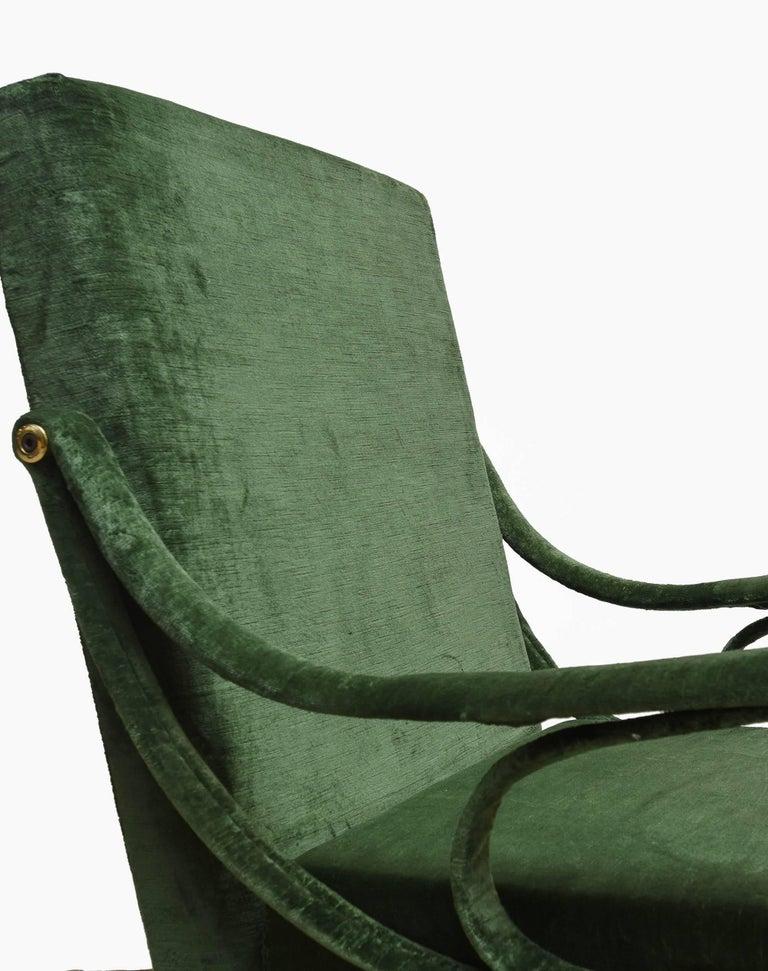 "Metal 1950s ""Digamma"" Ignazio Gardella Gavina Green Armchair For Sale"