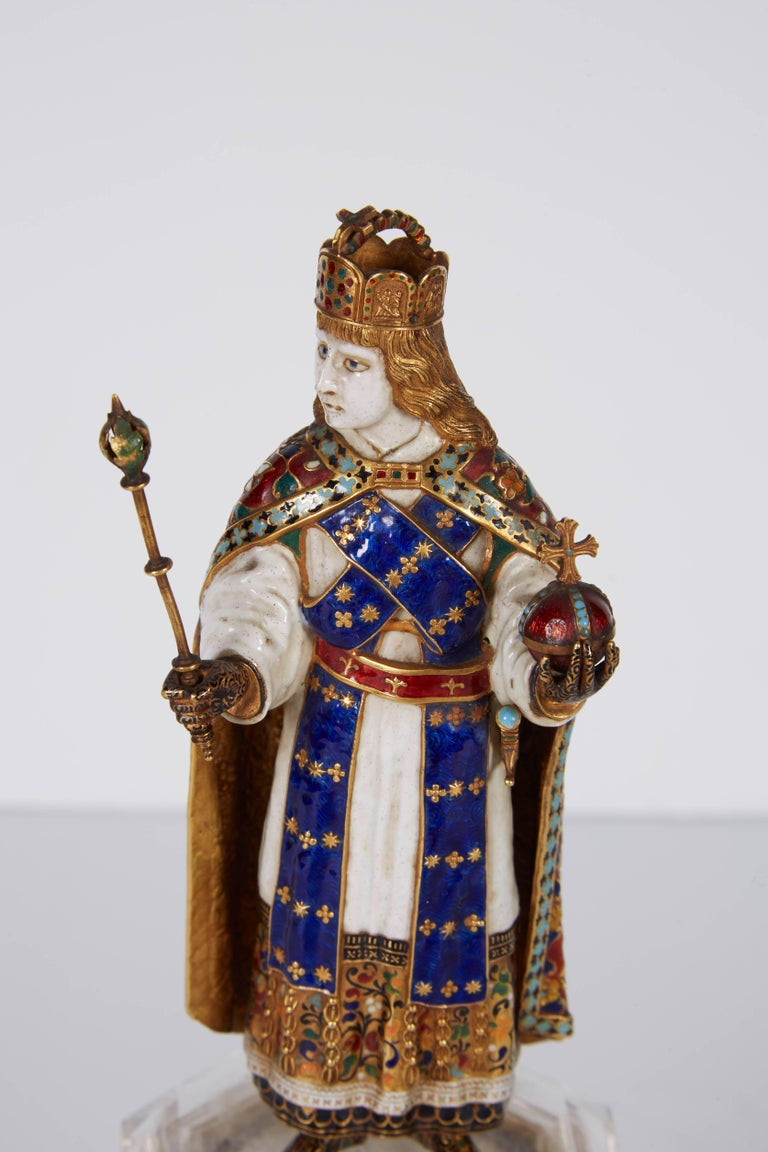 Renaissance Enamel Gold and Rock Crystal Figure of Emperor Maximilian I by Reinhold Vasters For Sale