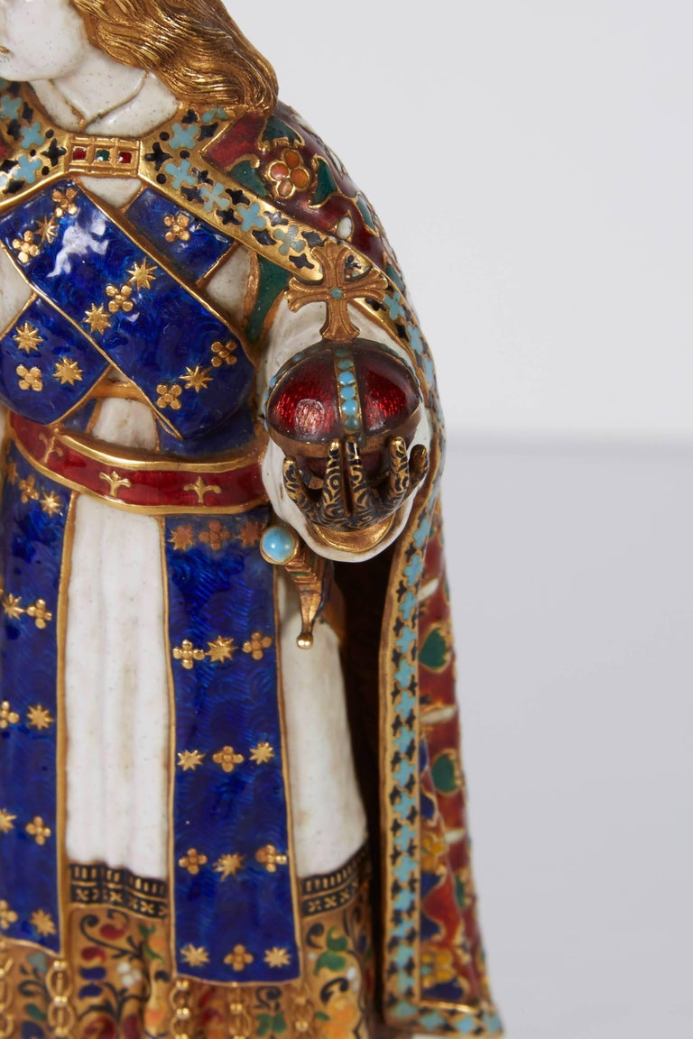 German Enamel Gold and Rock Crystal Figure of Emperor Maximilian I by Reinhold Vasters For Sale