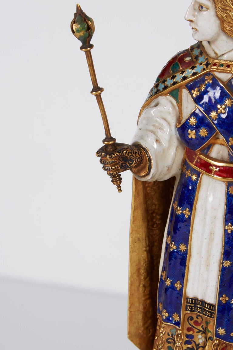 Enamel Gold and Rock Crystal Figure of Emperor Maximilian I by Reinhold Vasters In Excellent Condition For Sale In New York, NY