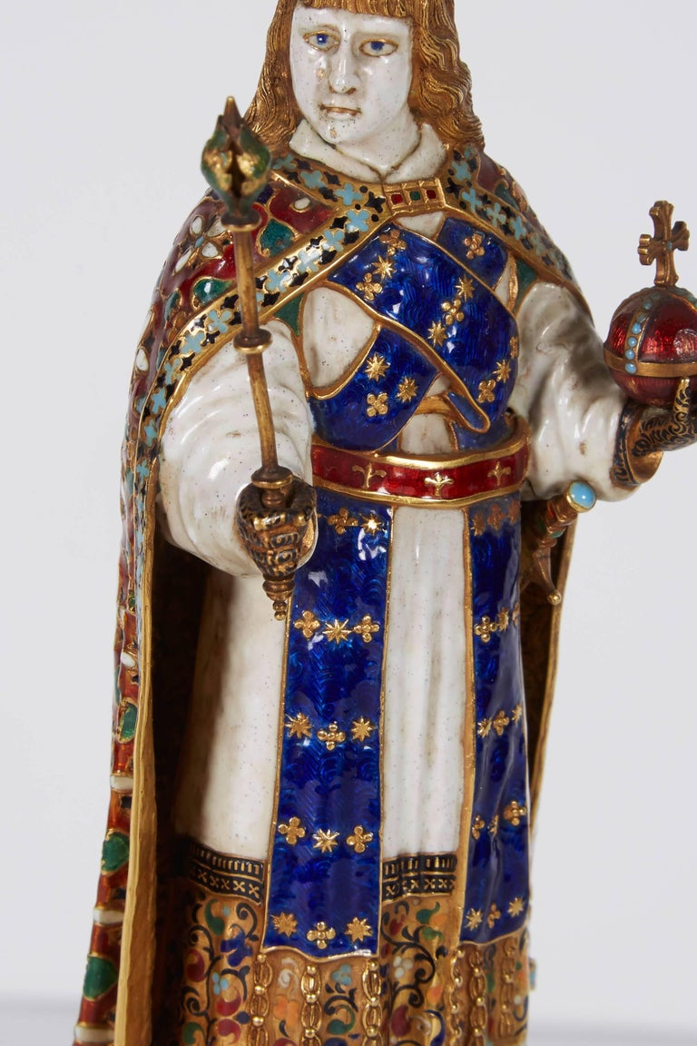 19th Century Enamel Gold and Rock Crystal Figure of Emperor Maximilian I by Reinhold Vasters For Sale