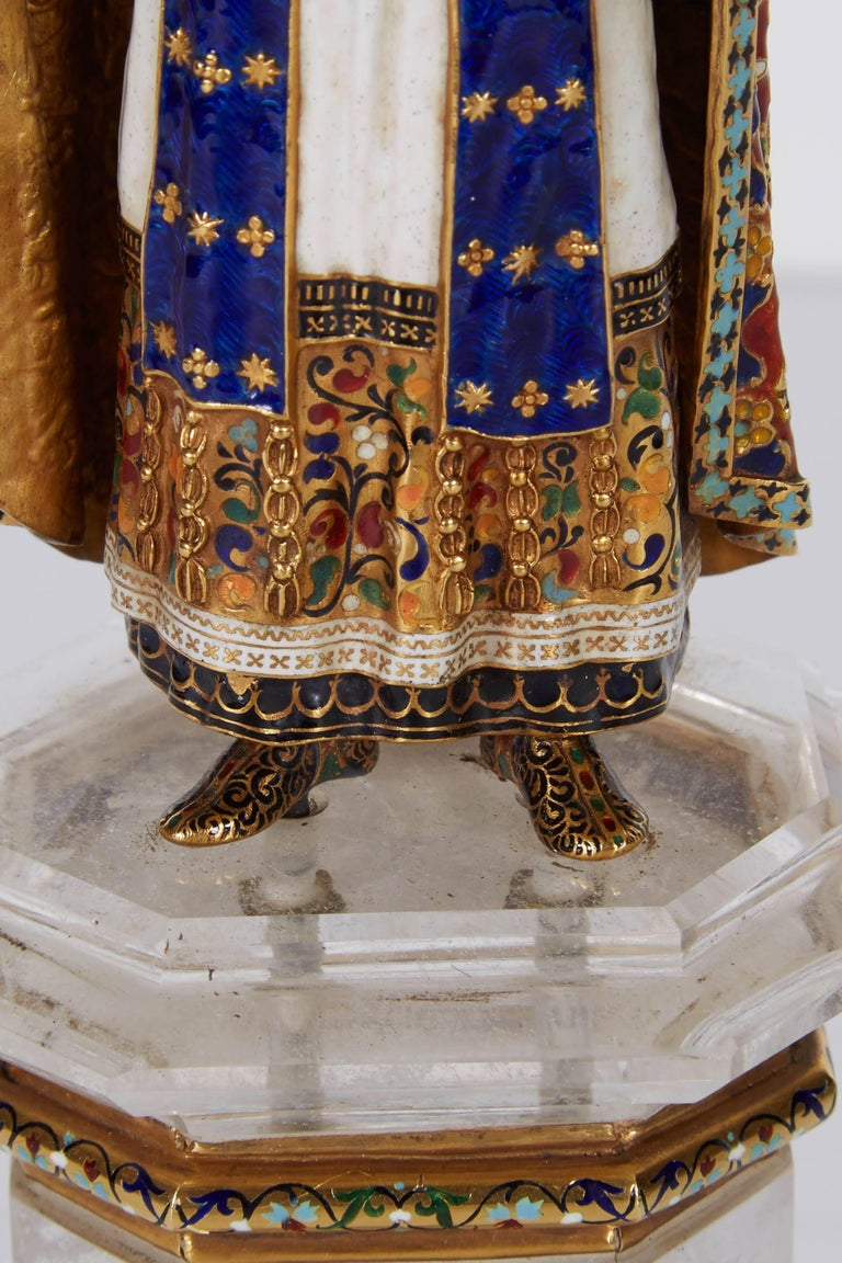 Enamel Gold and Rock Crystal Figure of Emperor Maximilian I by Reinhold Vasters For Sale 3