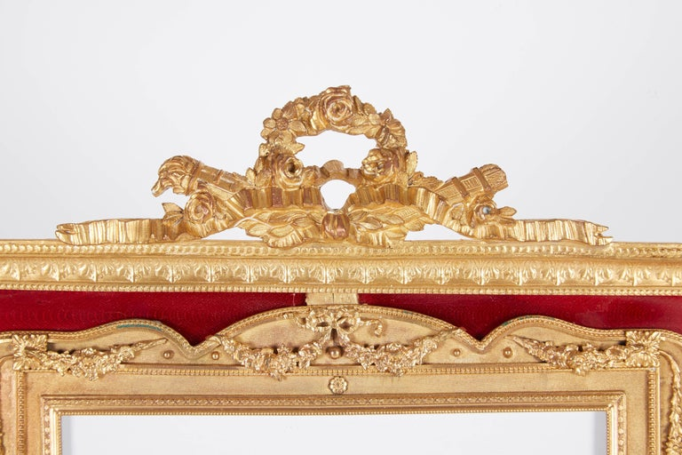 Rococo Large French Gilt Bronze Ormolu and Red Guilloche Enamel Picture Photo Frame For Sale