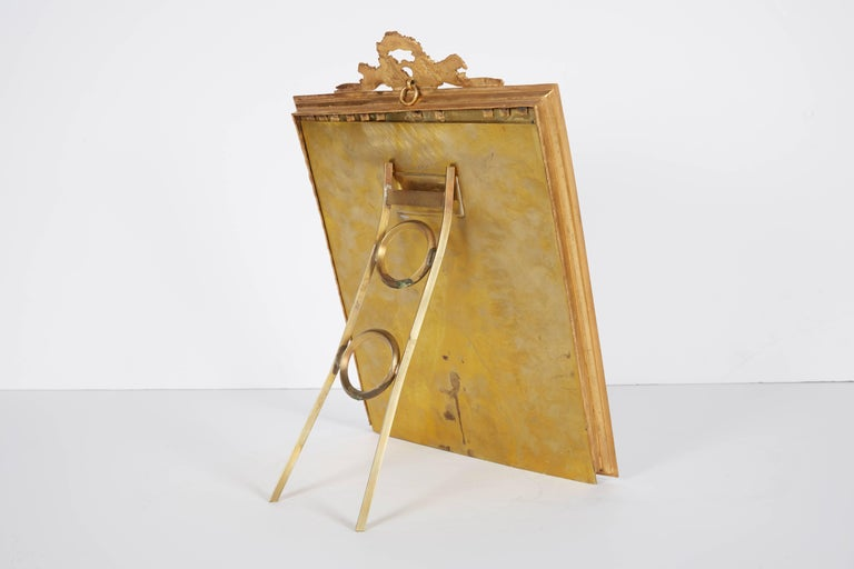 19th Century Large French Gilt Bronze Ormolu and Red Guilloche Enamel Picture Photo Frame For Sale