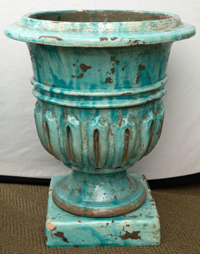 French Pair of Hand-Painted Blue and Green Terracotta Planters For Sale
