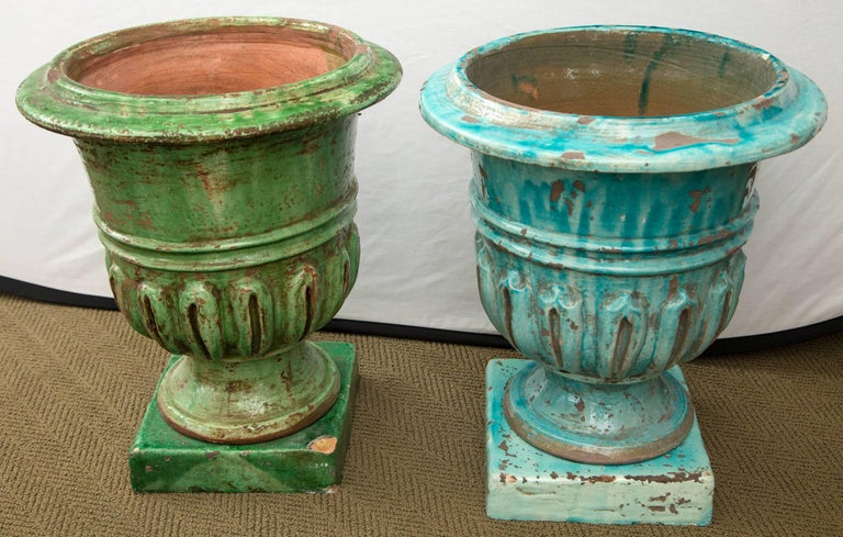 20th Century Pair of Hand-Painted Blue and Green Terracotta Planters For Sale