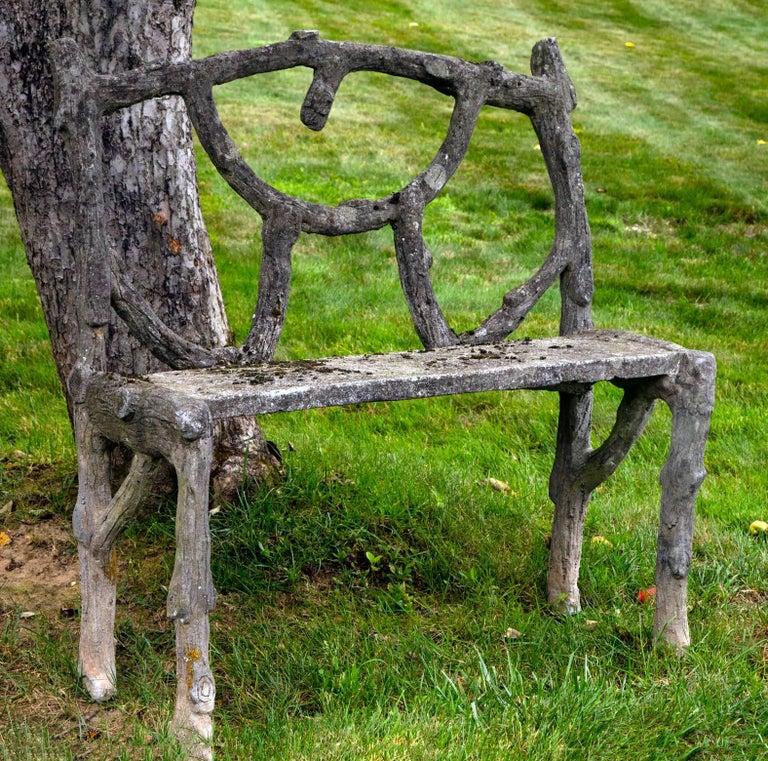 Rare faux bois love seat.