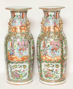 Pair of  Large 19th  Century Famille Rose Export Vases