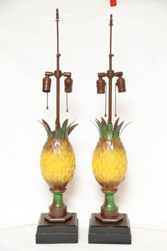 Pair of Tole Pineapple Table Lamps