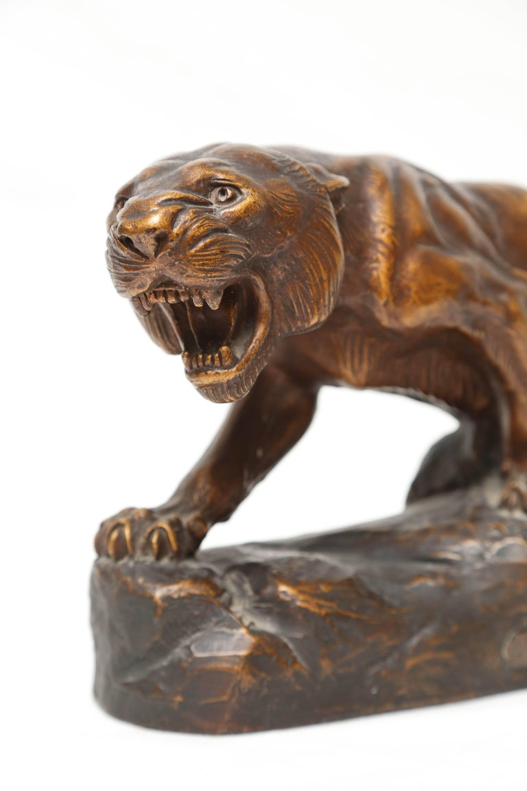 Terra Cotta Figure of a Tiger In Good Condition For Sale In West Palm Beach, FL