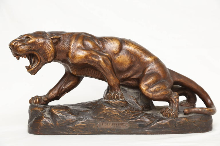 20th Century Terra Cotta Figure of a Tiger For Sale