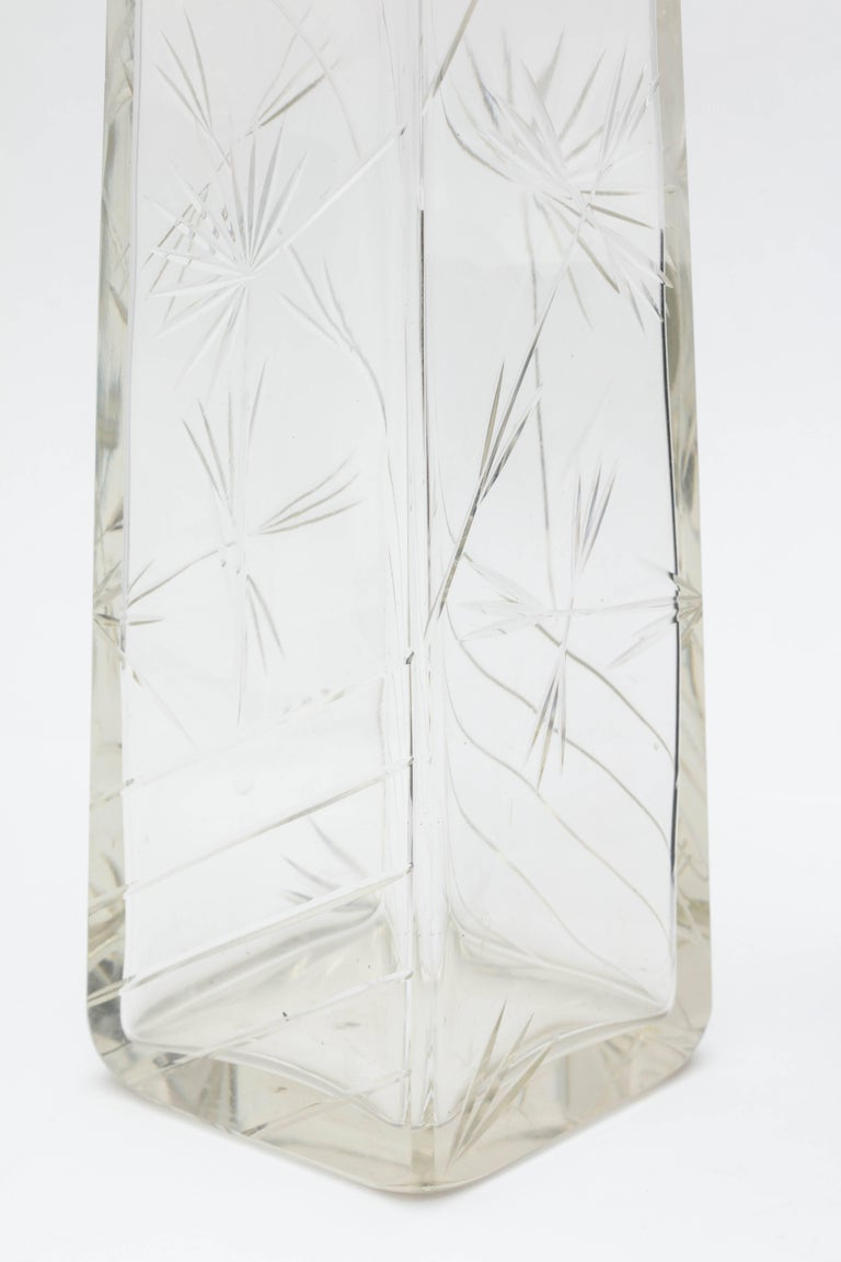 Edwardian, Sterling Silver-Mounted Rectangular Japonesque Style Crystal Vase For Sale 5