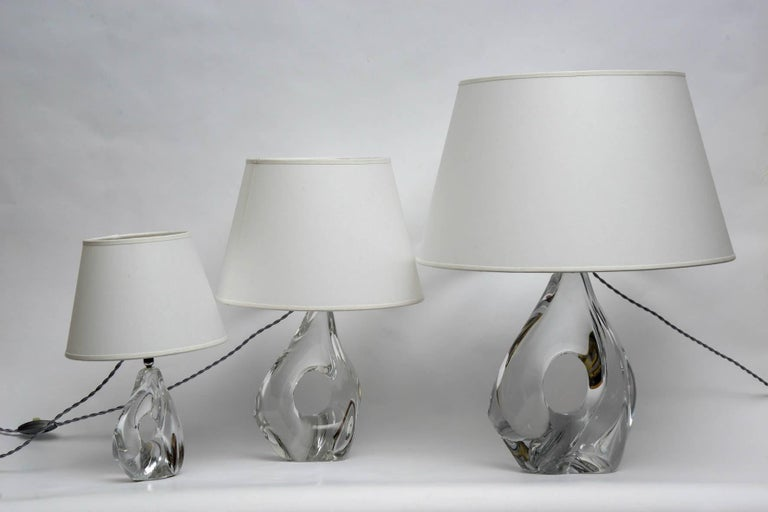 Rare Set of Three Lamps by Daum In Good Condition For Sale In Paris, FR