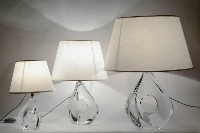Rare Set of Three Lamps by Daum For Sale 3