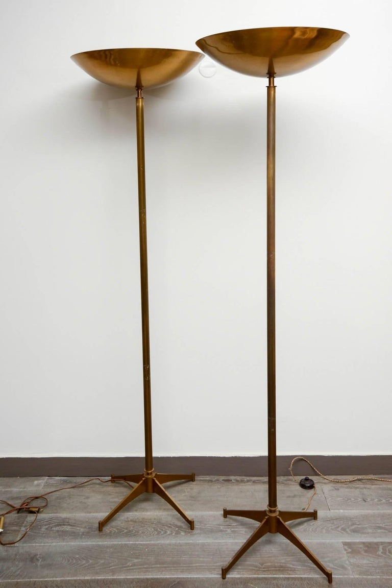 Pair of 1970s torchères in brass with