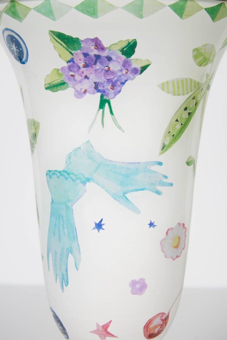 American Cathy Graham Decoupage Venetian Vase For Sale