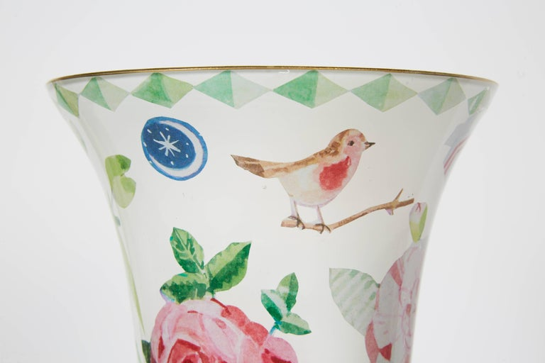 Handmade decoupage venetian vase, designed by Cathy Graham and crafted by Scott Potter.