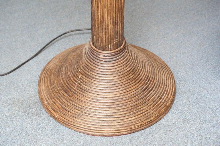 Exotic Vintage Pencil Bamboo and Rattan Banana Tree Floor Lamp 3