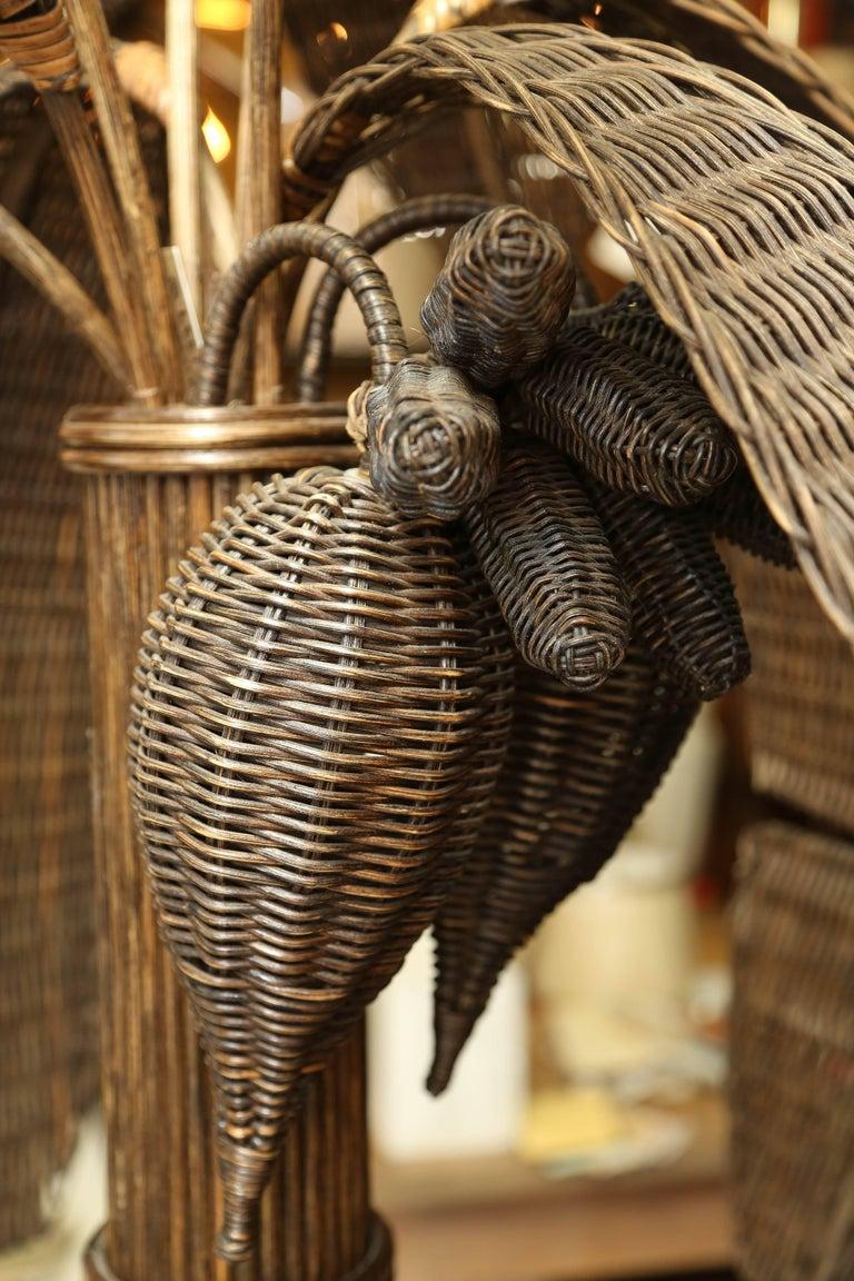 Exotic Vintage Pencil Bamboo and Rattan Banana Tree Floor Lamp 7