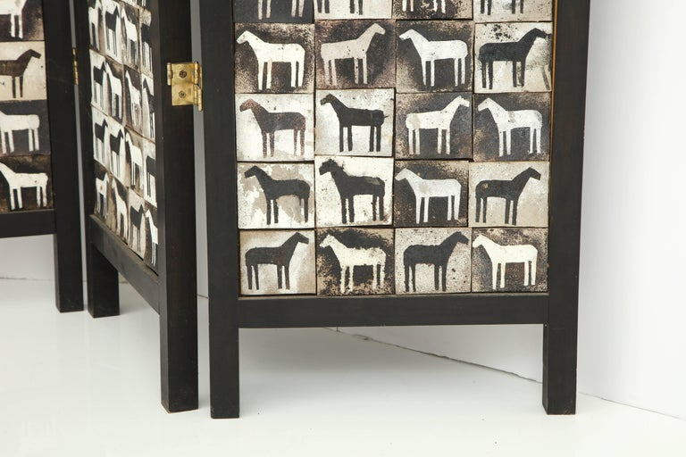 Ceramic Tile and Wood Screen In Good Condition For Sale In New York, NY