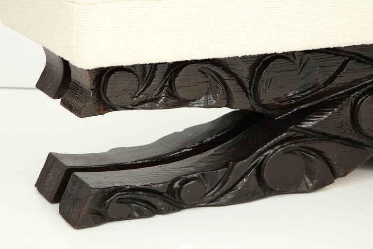 Hand-Carved Large Brutalist Bench For Sale