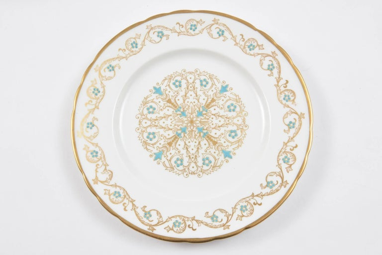 Art Deco 12 Vintage Dessert Plates, Turquoise and Gold by Tuscan, England For Sale
