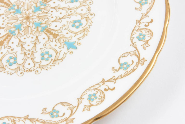English 12 Vintage Dessert Plates, Turquoise and Gold by Tuscan, England For Sale