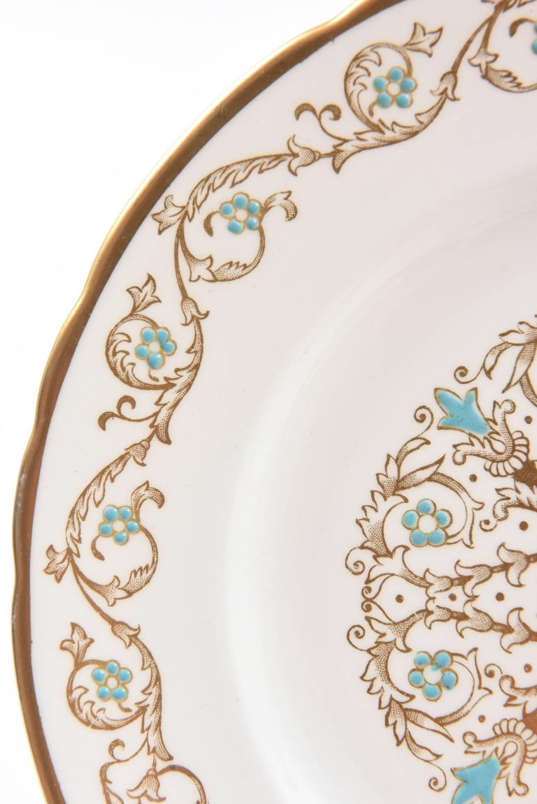 Hand-Crafted 12 Vintage Dessert Plates, Turquoise and Gold by Tuscan, England For Sale